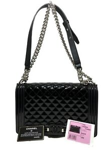 88588212e9e73d CHANEL BLACK PATENT LEATHER 'LE BOY' SILVER CHAIN BAG, LIM. ED. | eBay