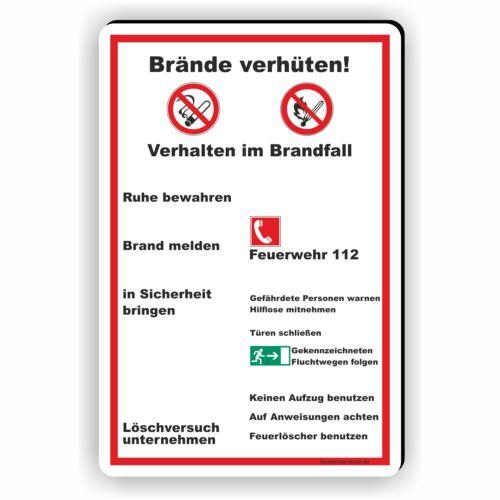 Brandschutz Brandschutzordnung Brände Brand verhüten 3mm Schild Hinwweis D-089