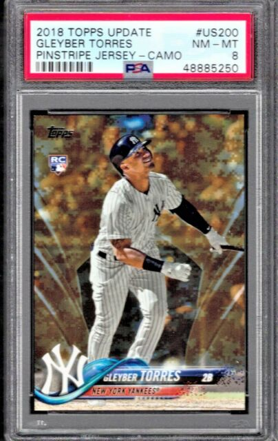 2018 TOPPS UPDATE GLEYBER TORRES PINSTRIPE # US 200 GRADED NM-MINT PSA 8 RC CAMO