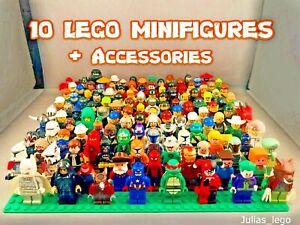 Lego-Minifigur-Menge-10-Figuren-abgeholt-zufaellig-mit-2-3-Zubehoer-jeder