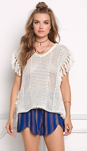 Paper Crane Knit Tassel Sweater Top NEW     SZ M   C340