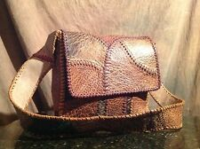 """Vtg 60s 70s Hippie CHAR Patchwork Leather BAG beautifully  10x10x4  17"""" strap"""