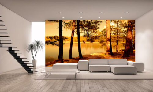 Golden  Forest Wall Mural Photo Wallpaper GIANT DECOR Paper Poster Free Paste