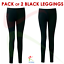 2-PACK-Kids-Girls-Ankle-Length-Stretch-Fit-Cotton-BLACK-Leggings-Casual-2-13-YRS thumbnail 2
