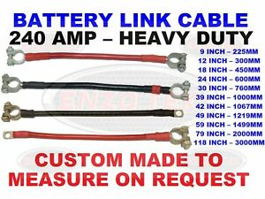 BATTERY LEADS CABLE TERMINAL LINK MARINE BOAT KIT CAR RED BLACK EARTH LIVE