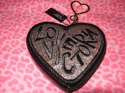 Love VICTORIA SECRET Glam Keychain Coin Purse Keychain Heart Shape Glitter Black