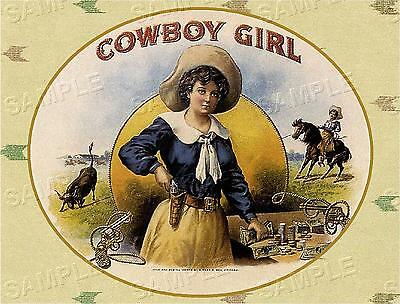 VINTAGE ANTIQUE COWBOY GIRL WESTERN COWGIRL RODEO *CANVAS* CIGAR BOX LABEL ART