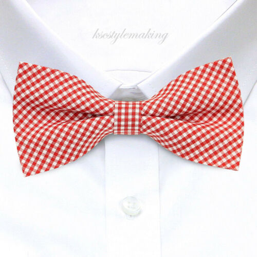 *BRAND NEW* RED/&WHITE SMALL CHECKED LUXURY CHECKED TUXEDO MENS BOW TIE B957