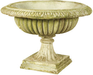 Image Is Loading Low Round Garden Urn Planter By Orlandi Statuary