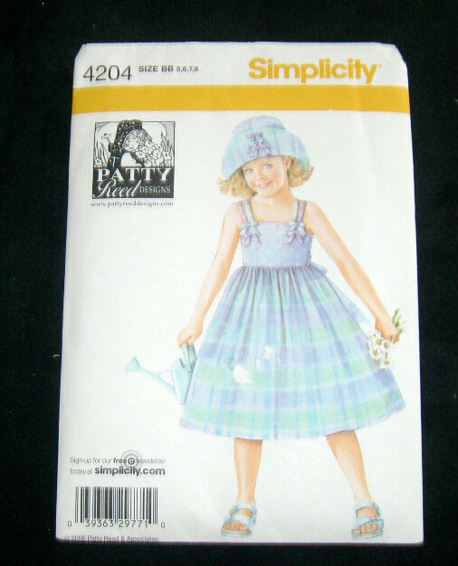 Simplicity Pattern #4204 Child's Dress and Hat Size BB 5, 6, 7, 8 - New