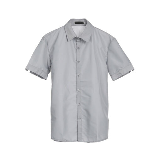 Men Short Sleeve Shirts Button Down Casual Cotton Formal Slim Fit Shirt M-3XL