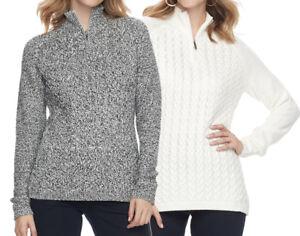 New-Croft-amp-Barrow-Women-039-s-1-4-Zip-Textured-Sweater-Size-L-XL-MSRP-44