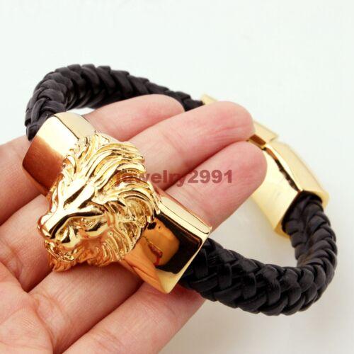 Homme Noir en Cuir Véritable Bracelet Or Plaque en Acier Inoxydable Animal Lion Head