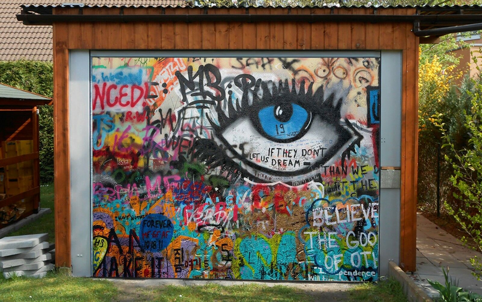 3D Eye Graffiti 8 Garage Door Murals Wall Print Decal Wall AJ WALLPAPER UK Carly