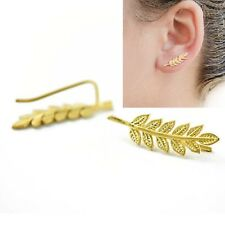 Urban Minimal Delicate Gold Leaf Branch Ear Climbers Crawlers Cuff Earrings