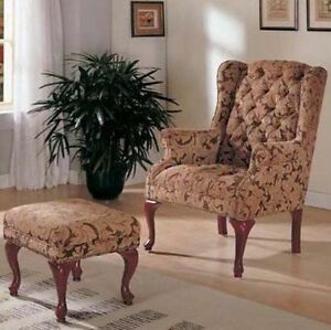 ... Coaster Queen Anne Style Button Tufted Wing Accent Chair With Ottoman.  Stock Photo