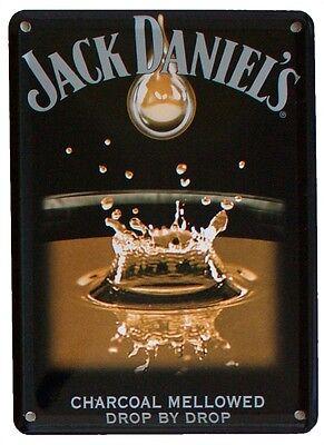 JACK DANIELS WHISKEY SPLASH DROP BY DROP Small Vintage Metal Tin Pub Sign