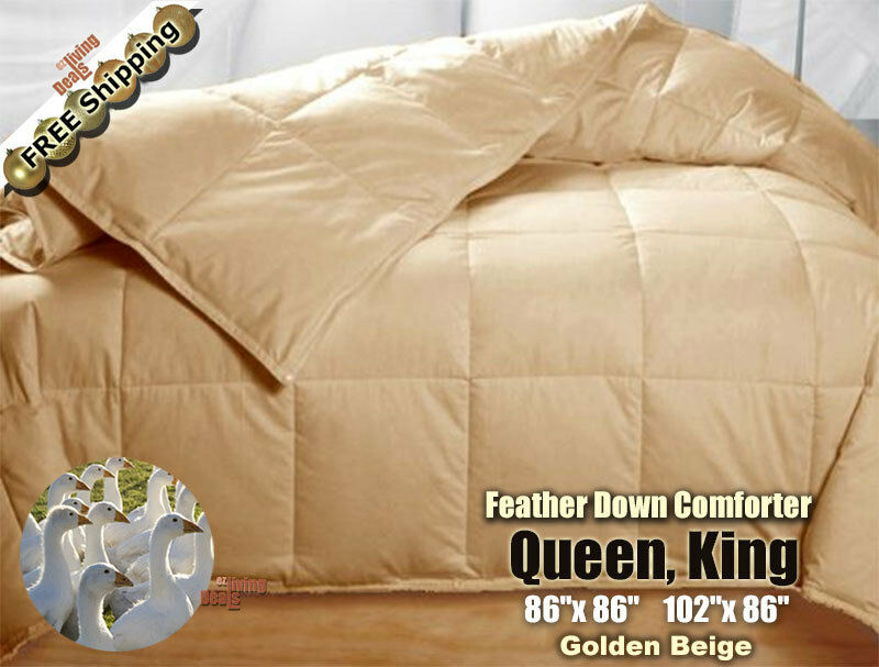 100 goose feather down comforters 95 5 soft bed comforter queen king golden. Black Bedroom Furniture Sets. Home Design Ideas