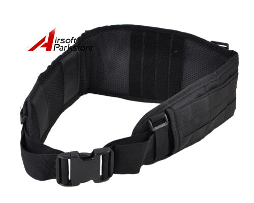 Tactical Military Combat Molle Padded Waist Belt with H-Shaped Suspender Black