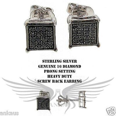 Genuine Natural Diamond Stud Earrings on 925 Sterling Silver DIAER-104 BLK