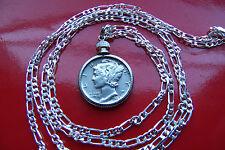 "AUTHENTIC AMERICAN RARE COIN>MERCURY DIME PENDANT 30""  925 Sterling Silver Chain"