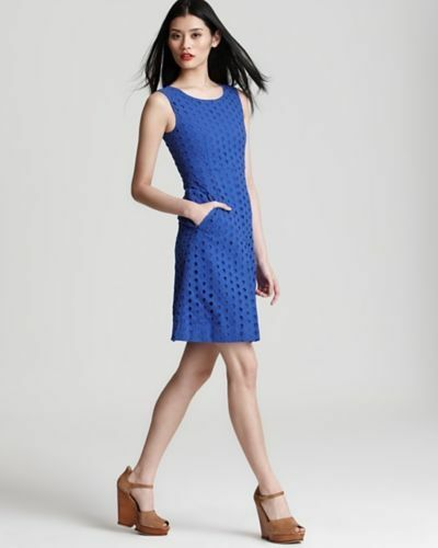 Size 12 DVF blueee Carpreena Ring Stitch Dress NWT
