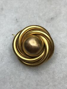 Antique Victorian Brooch 1890s Knot C Clasp Gold Coloured Jewellery Jewelry Old