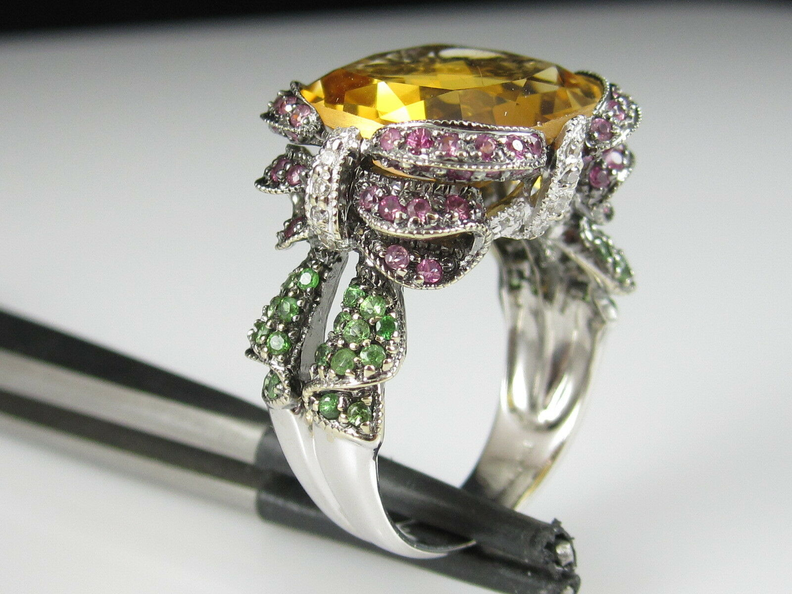 Citrine Ring Pink Sapphire Emerald Diamond 14K White gold Ribbon KING'S  4300