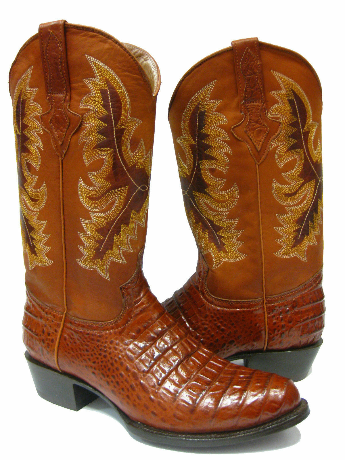 Mens Cognac Crocodile Belly Exotic Western Leather Cowboy Boots Rodeo Round Toe