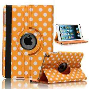 ORANGE-Fashion-Dots-Leather-360-Rotating-Stand-Case-Cover-For-iPad-2-3-4-UK
