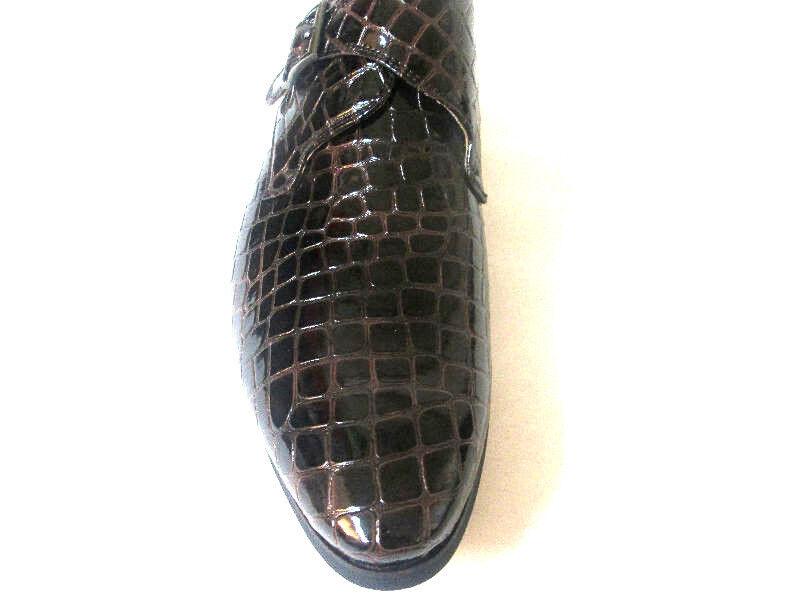Adolfo Uomo Brown Croco Embossed Buckls*CADDY-2 Slip-On Pelle Dress Shoes*Side Buckls*CADDY-2 Embossed 9fdaab