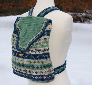 Vermont HAND KNIT Adult Backpack Purse Blue & Green Acrylic EUC