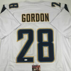 reputable site f0256 43776 Details about Autographed/Signed MELVIN GORDON Los Angeles White Football  Jersey JSA COA Auto