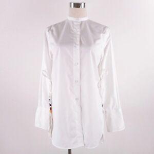 New-Celine-Women-039-s-Blouse-Top-Shirt-White-AU-6-8-Button-Down-Side-Slit-Tassels
