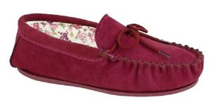DF220 Mokkers Womens//Ladies Kirsty Moccasin Real Suede Faux Fur Slippers