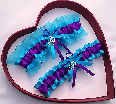 NEW Forever Bridal Wedding Garters Purple Turquoise Prom GetTheGoodStuff Sexy