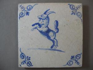 Antique-Dutch-animal-tile-goat-ibex-rare-17th-century-free-shipping