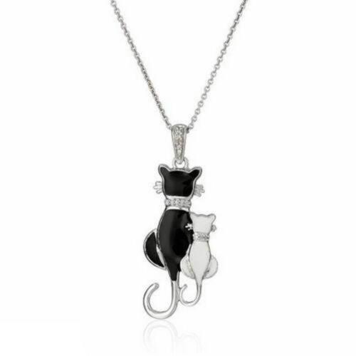 Fashion Women Cat Charm Pendant Choker Chunky Silver Chain Necklace Jewelry Gift