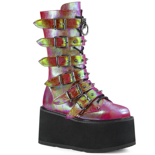 Demonia Women/'s DAMNED-225 Platform Lace-Up /& Cone-Studded Buckle Mid-Calf Boots
