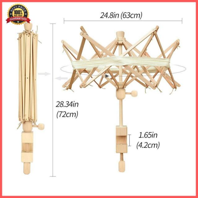 Wooden Winder Holder Umbrella Fiber String Wool Swift Yarn Thread Knitting Tools