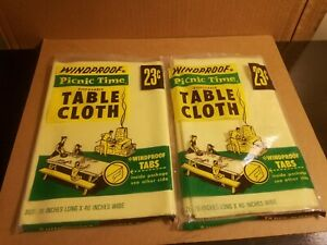 Lot-of-2-New-Vintage-windproof-picnic-time-disposable-table-cloth-Yellow-78-x-40