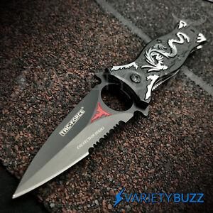 TAC FORCE TACTICAL GRAY DRAGON ASSISTED OPEN POCKET KNIFE Spring Folding Blade