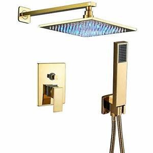 Gold Wall Mounted Shower Combo Set W/ 12 Inch LED Light ...