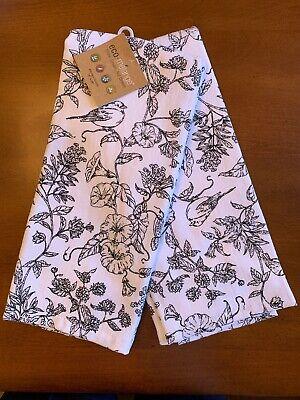 Eco Melange Kitchen Towels Set Of 2 White With Black Birds Flowers 18 X 28 Ebay