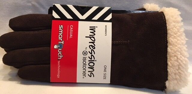 Impressions by Isotoner SmarTouch Technology Faux Suede Chocolate Women/'s SZ S-M