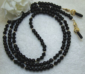 Eyeglass-Chain-Black-Onyx-amp-Black-Crystal-Gold-2924-Lanyard