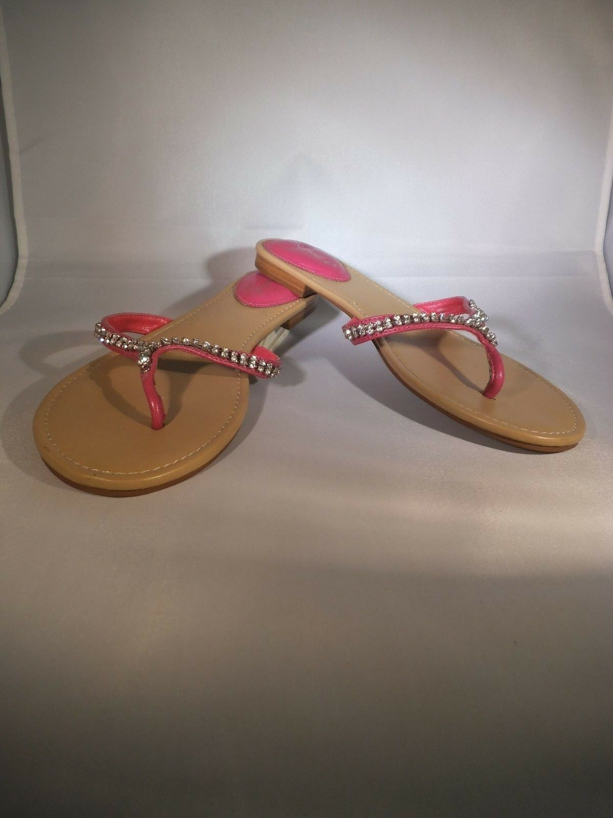 NEW LADIES BRECKELLE'S SIZE PINK 9 SANDALS FLIP FLOPS PINK SIZE RHINESTONES CRYSTALS BLING d58f67