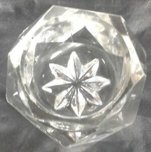 Salt Dip Crystal Clear Glass Hexagon Shape Six Sides Open Salt Cellar