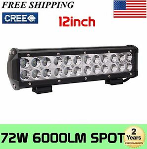 12''inch 72W Cree Led Work Light Bar Spot Beam Suv Boat Driving Lamp Offroad 4WD