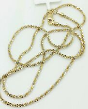 """14k Solid Yellow And White Gold Diamond Cut Sparkle Necklace Chain 16"""" 1.5mm"""